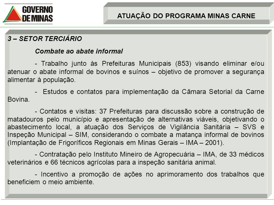 ATUAÇÃO DO PROGRAMA MINAS CARNE