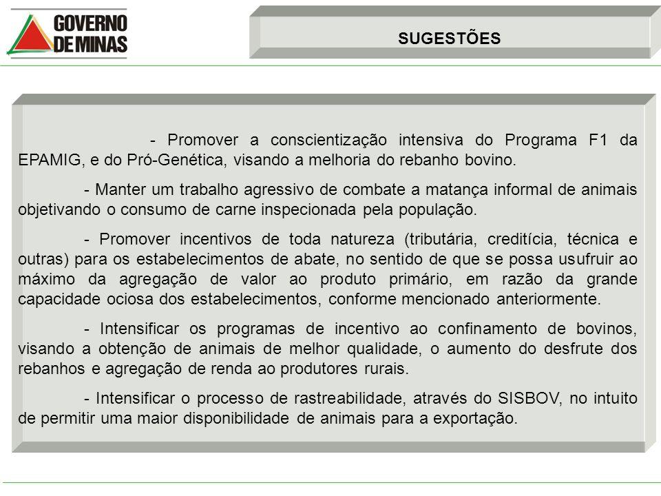 SUGESTÕES - Promover a conscientização intensiva do Programa F1 da EPAMIG, e do Pró-Genética, visando a melhoria do rebanho bovino.
