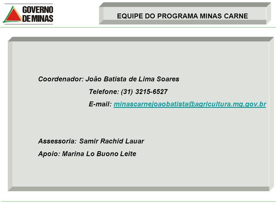 EQUIPE DO PROGRAMA MINAS CARNE