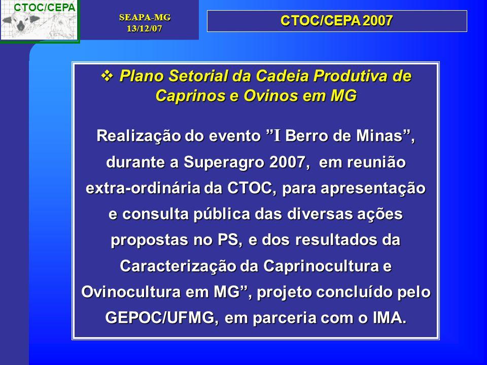 Plano Setorial da Cadeia Produtiva de Caprinos e Ovinos em MG
