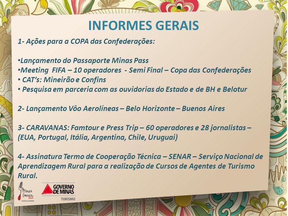 INFORMES GERAIS 1- Ações para a COPA das Confederações: