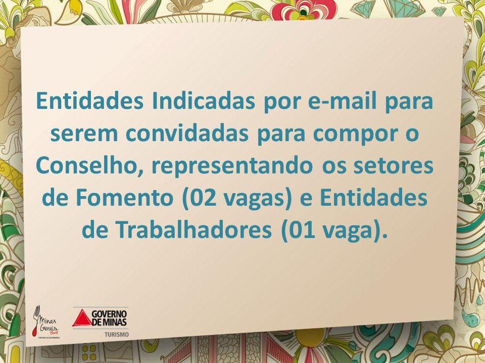 Entidades Indicadas por e-mail para serem convidadas para compor o Conselho, representando os setores de Fomento (02 vagas) e Entidades de Trabalhadores (01 vaga).