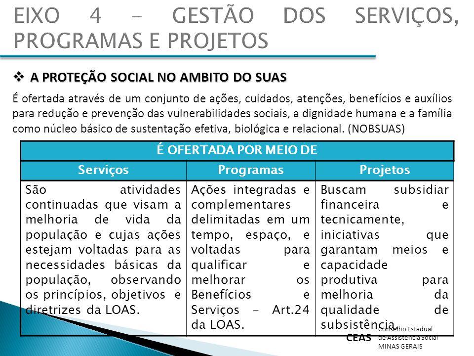 EIXO 4 - GESTÃO DOS SERVIÇOS, PROGRAMAS E PROJETOS