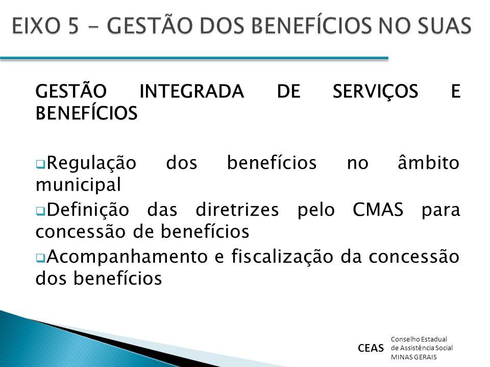 EIXO 5 - GESTÃO DOS BENEFÍCIOS NO SUAS