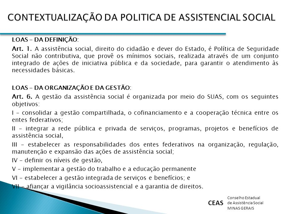 CONTEXTUALIZAÇÃO DA POLITICA DE ASSISTENCIAL SOCIAL