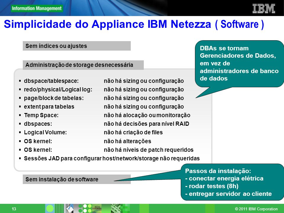 Simplicidade do Appliance IBM Netezza ( Software )
