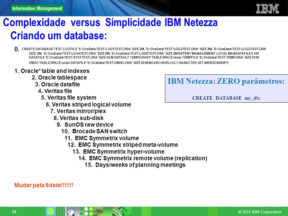 Complexidade versus Simplicidade IBM Netezza Criando um database: