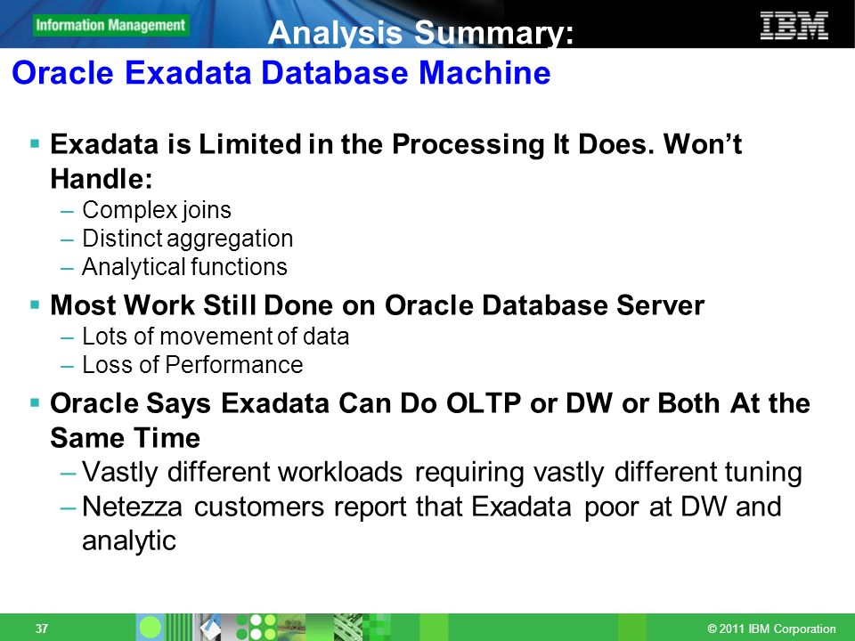 Analysis Summary: Oracle Exadata Database Machine