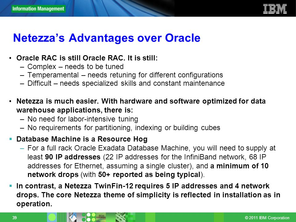 Netezza's Advantages over Oracle