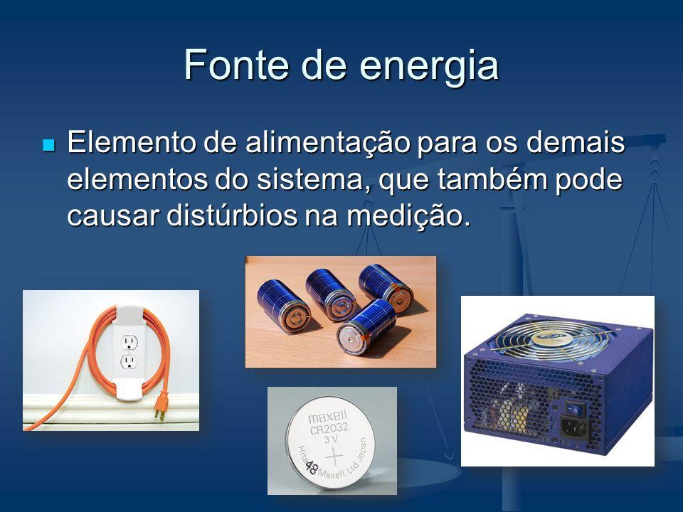 Fonte de energiaElemento de alimentação para os demais elementos do sistema, que também pode causar distúrbios na medição.