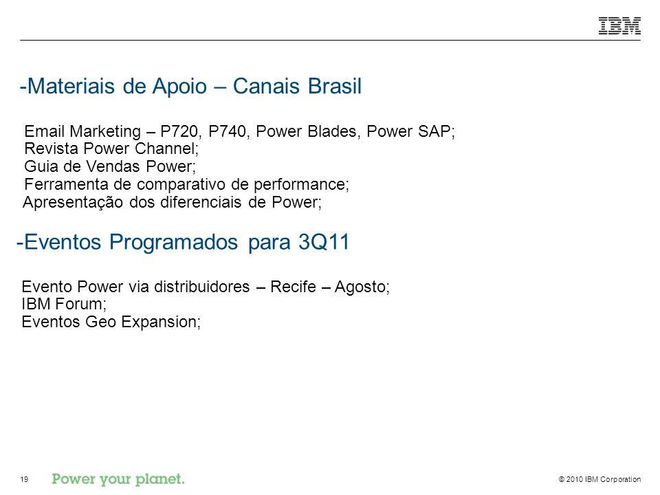 Materiais de Apoio – Canais Brasil Email Marketing – P720, P740, Power Blades, Power SAP; Revista Power Channel; Guia de Vendas Power; Ferramenta de comparativo de performance; Apresentação dos diferenciais de Power;