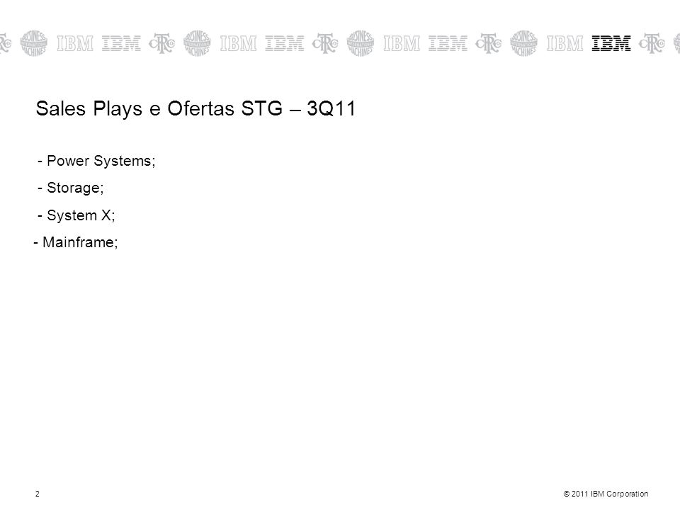 Sales Plays e Ofertas STG – 3Q11