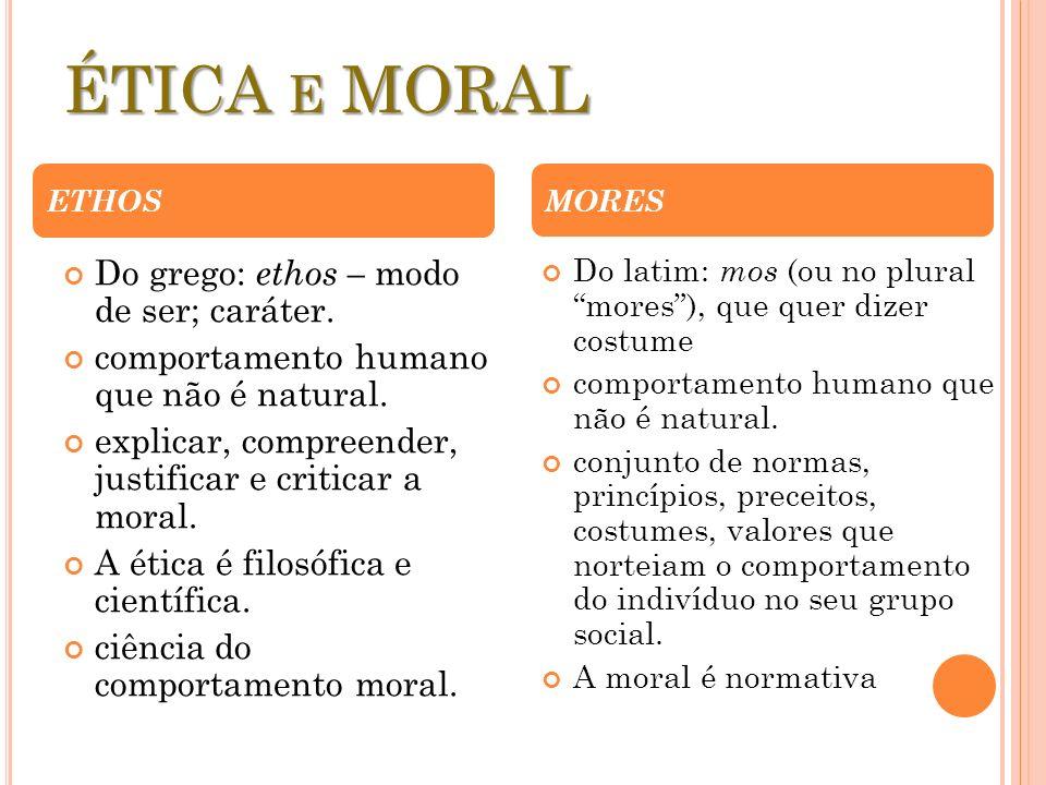 ÉTICA e MORAL Do grego: ethos – modo de ser; caráter.