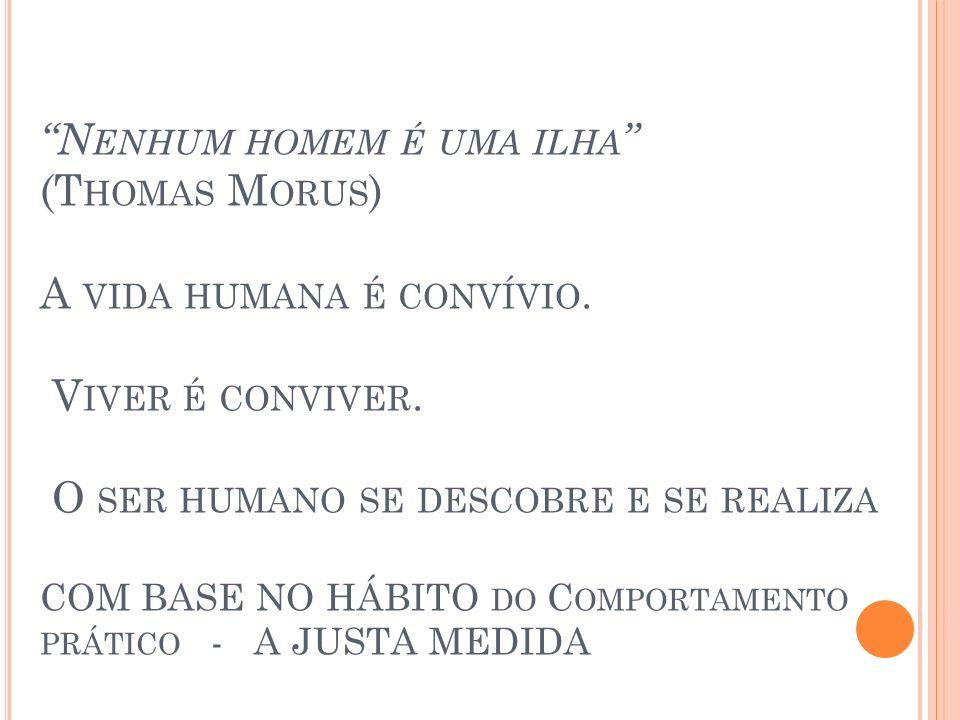 Nenhum homem é uma ilha (Thomas Morus) A vida humana é convívio