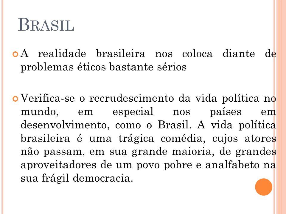 Brasil A realidade brasileira nos coloca diante de problemas éticos bastante sérios.