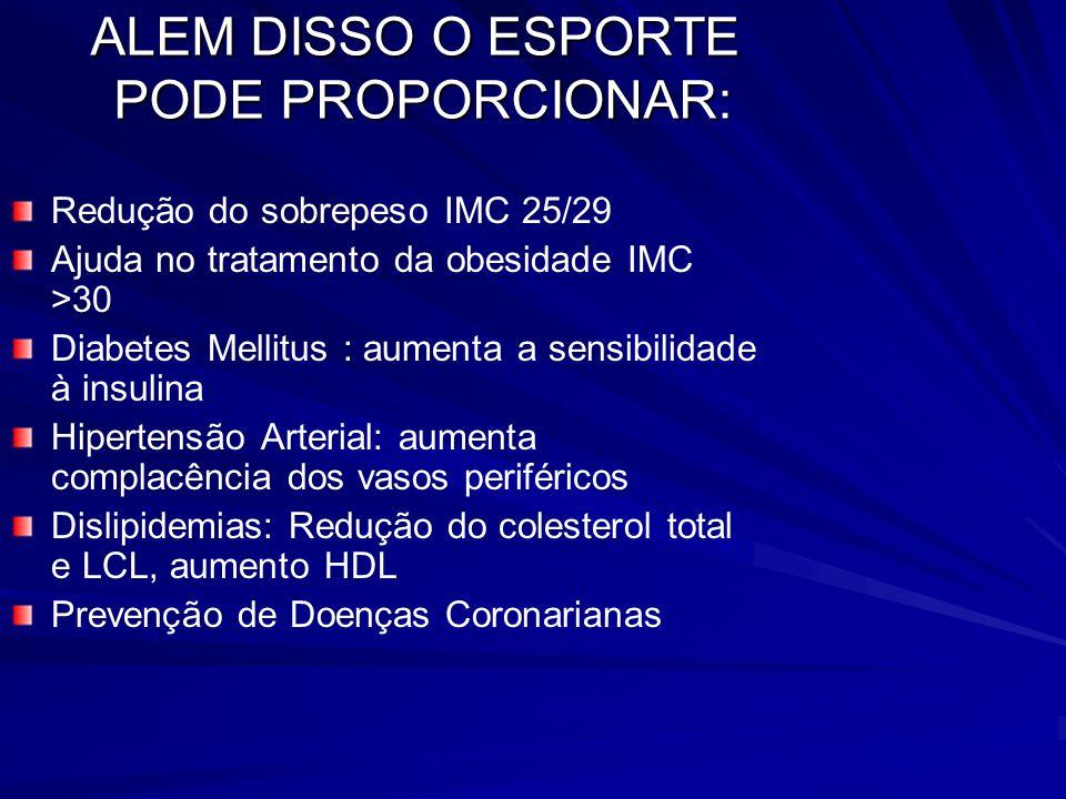 ALEM DISSO O ESPORTE PODE PROPORCIONAR: