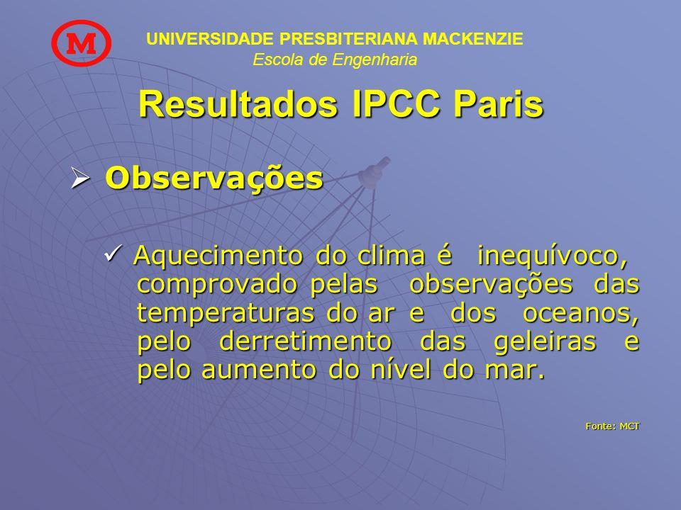 Resultados IPCC Paris Observações