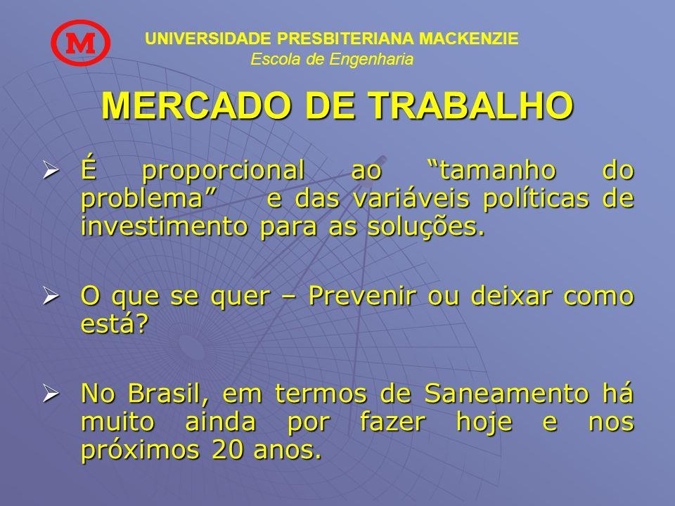 MERCADO DE TRABALHO É proporcional ao tamanho do problema e das variáveis políticas de investimento para as soluções.