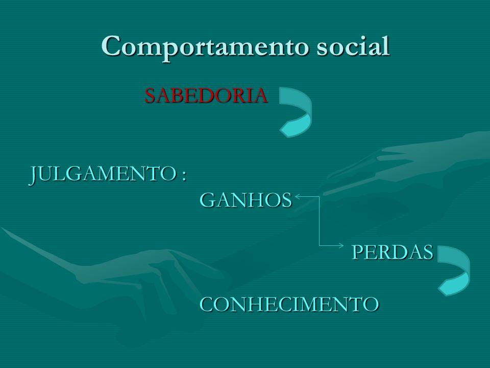 Comportamento social SABEDORIA JULGAMENTO : GANHOS PERDAS CONHECIMENTO