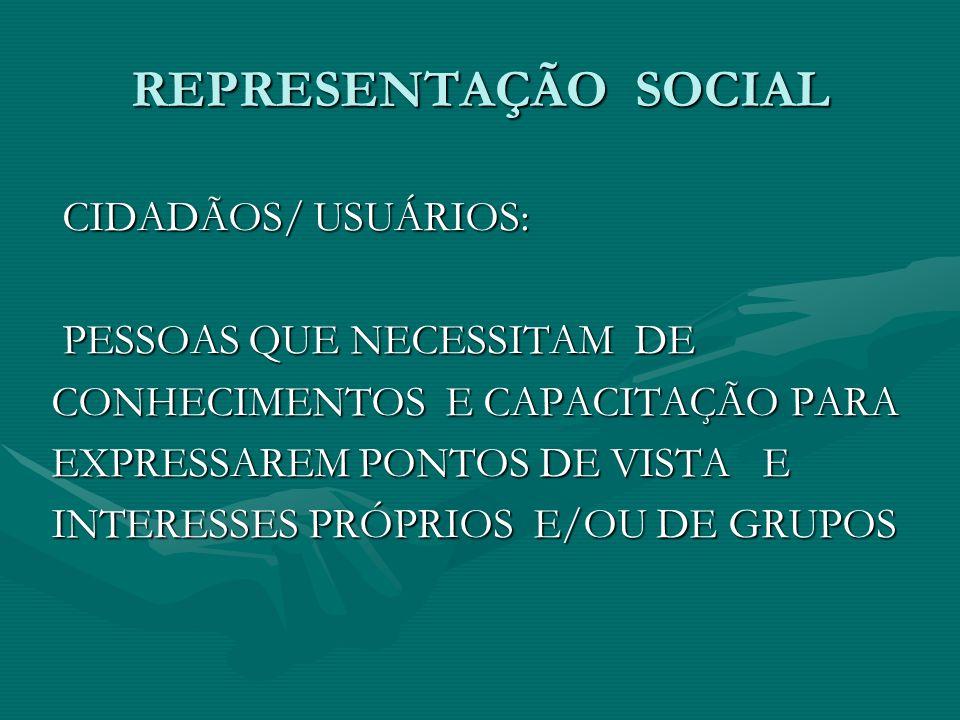 REPRESENTAÇÃO SOCIAL CIDADÃOS/ USUÁRIOS: PESSOAS QUE NECESSITAM DE