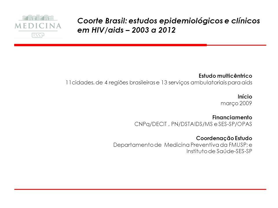 Estudo multicêntrico 11cidades, de 4 regiões brasileiras e 13 serviços ambulatoriais para aids