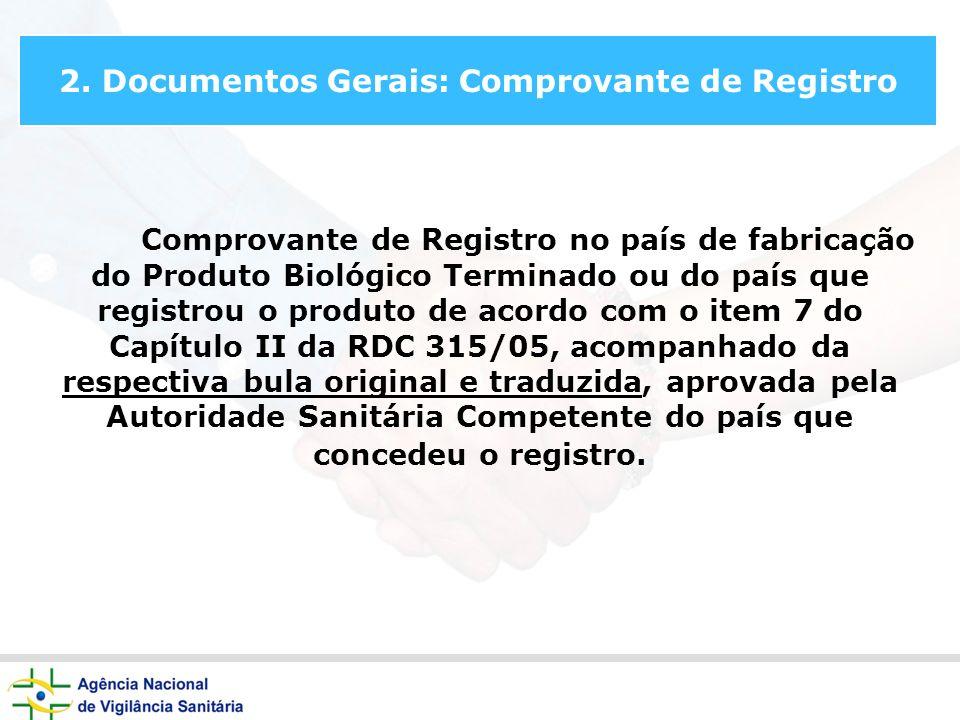 2. Documentos Gerais: Comprovante de Registro