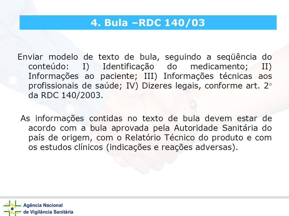 4. Bula –RDC 140/03