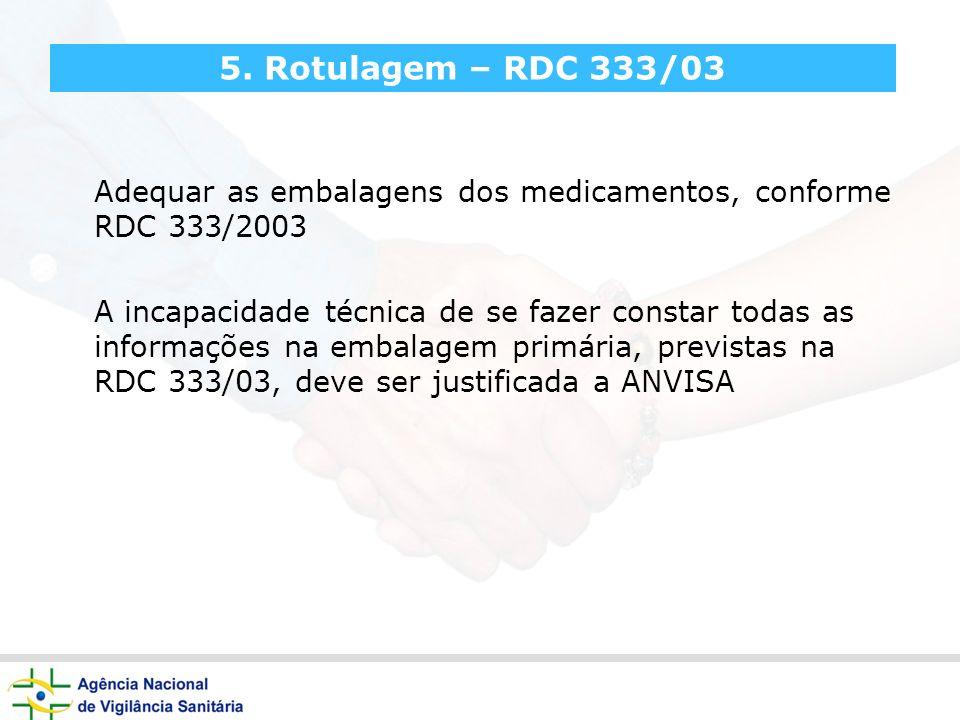 5. Rotulagem – RDC 333/03 Adequar as embalagens dos medicamentos, conforme RDC 333/2003.