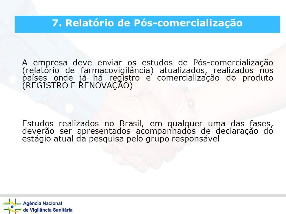 7. Relatório de Pós-comercialização