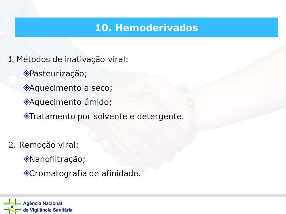 10. Hemoderivados 1. Métodos de inativação viral: Pasteurização;