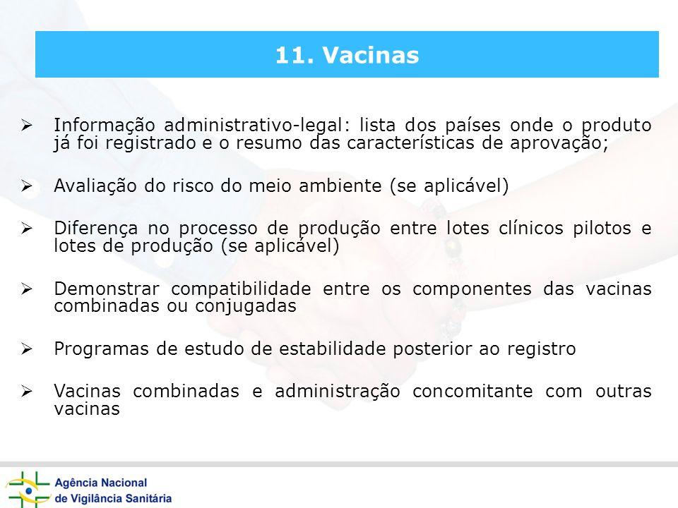 11. Vacinas Informação administrativo-legal: lista dos países onde o produto já foi registrado e o resumo das características de aprovação;