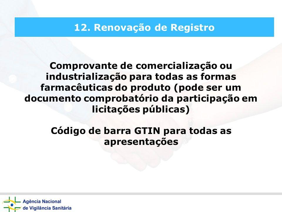 Código de barra GTIN para todas as apresentações