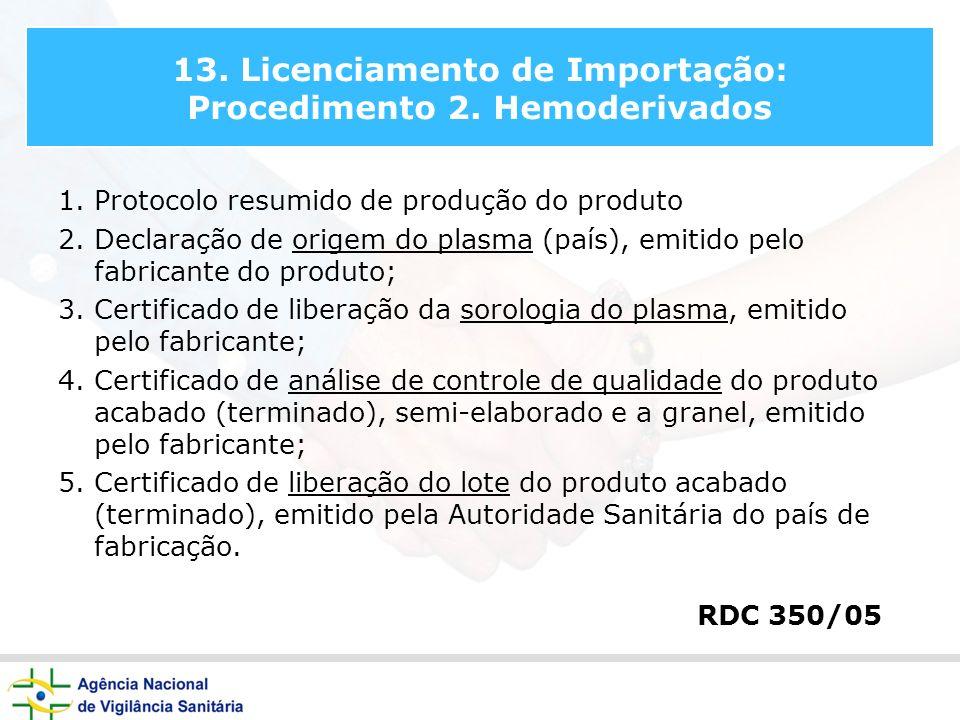 13. Licenciamento de Importação: Procedimento 2. Hemoderivados