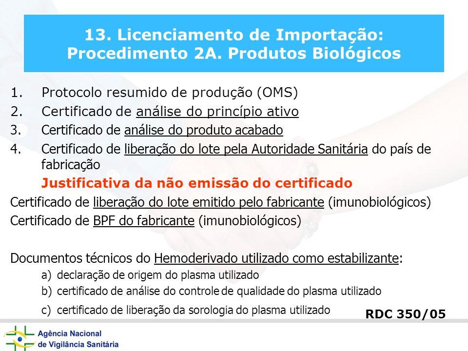 13. Licenciamento de Importação: Procedimento 2A. Produtos Biológicos