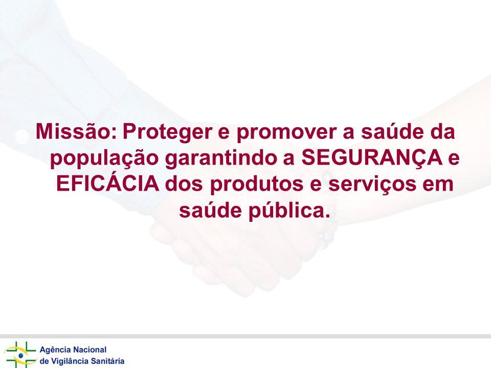 Missão: Proteger e promover a saúde da população garantindo a SEGURANÇA e EFICÁCIA dos produtos e serviços em saúde pública.