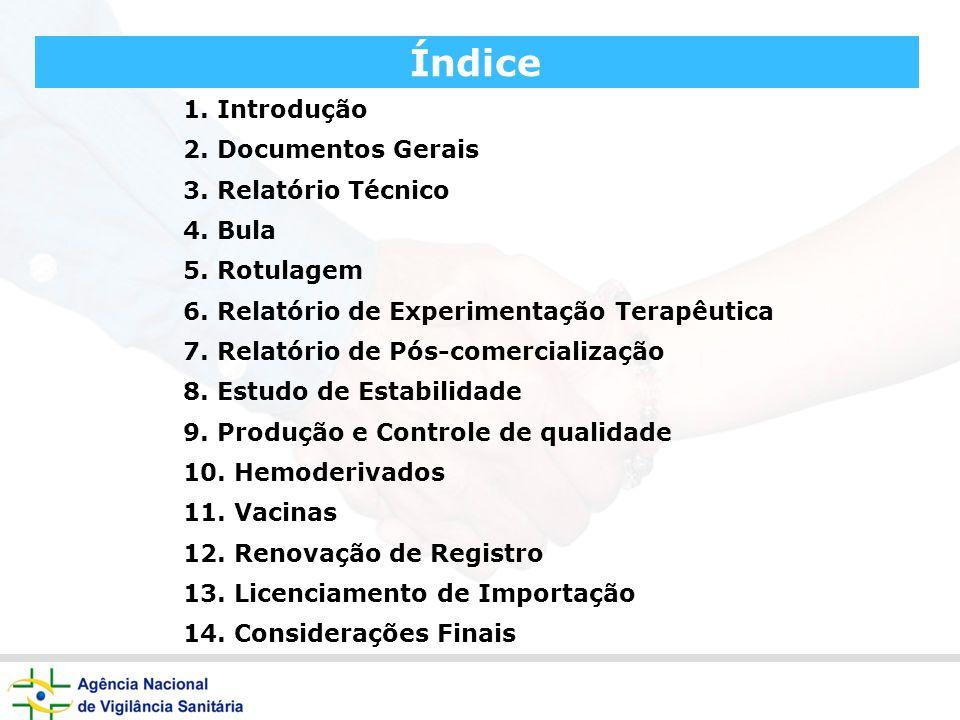 Índice 1. Introdução 2. Documentos Gerais 3. Relatório Técnico 4. Bula