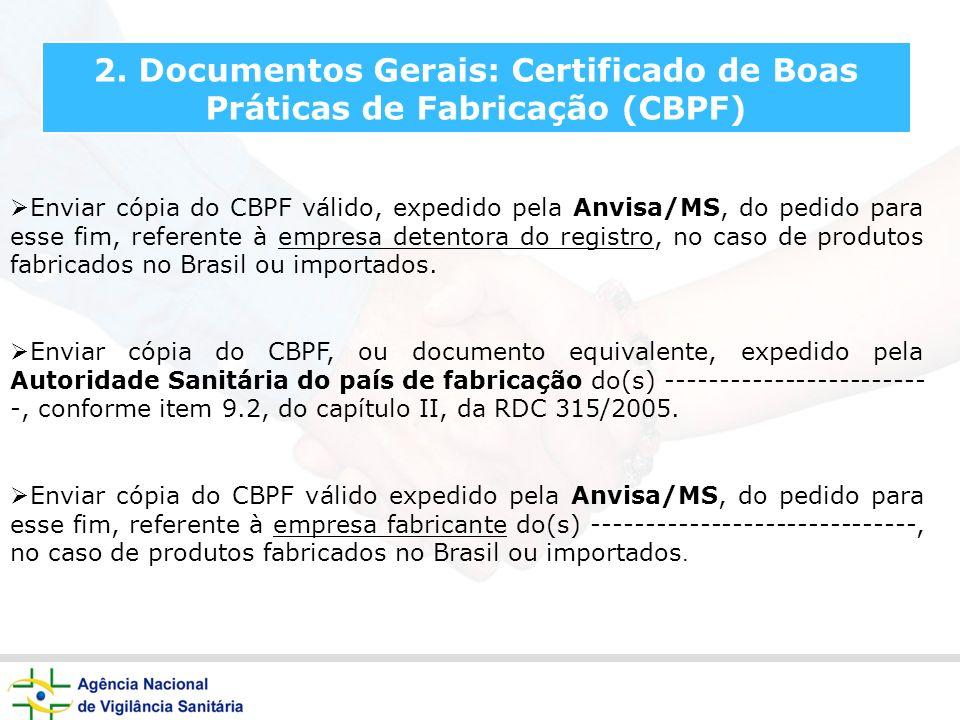 2. Documentos Gerais: Certificado de Boas Práticas de Fabricação (CBPF)