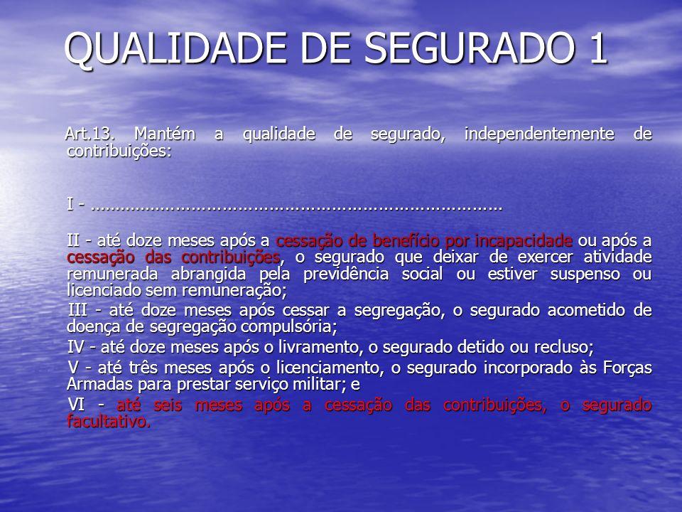 QUALIDADE DE SEGURADO 1 Art.13. Mantém a qualidade de segurado, independentemente de contribuições: