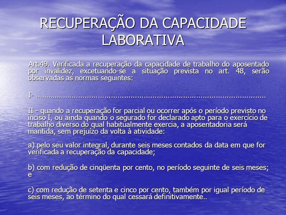 RECUPERAÇÃO DA CAPACIDADE LABORATIVA