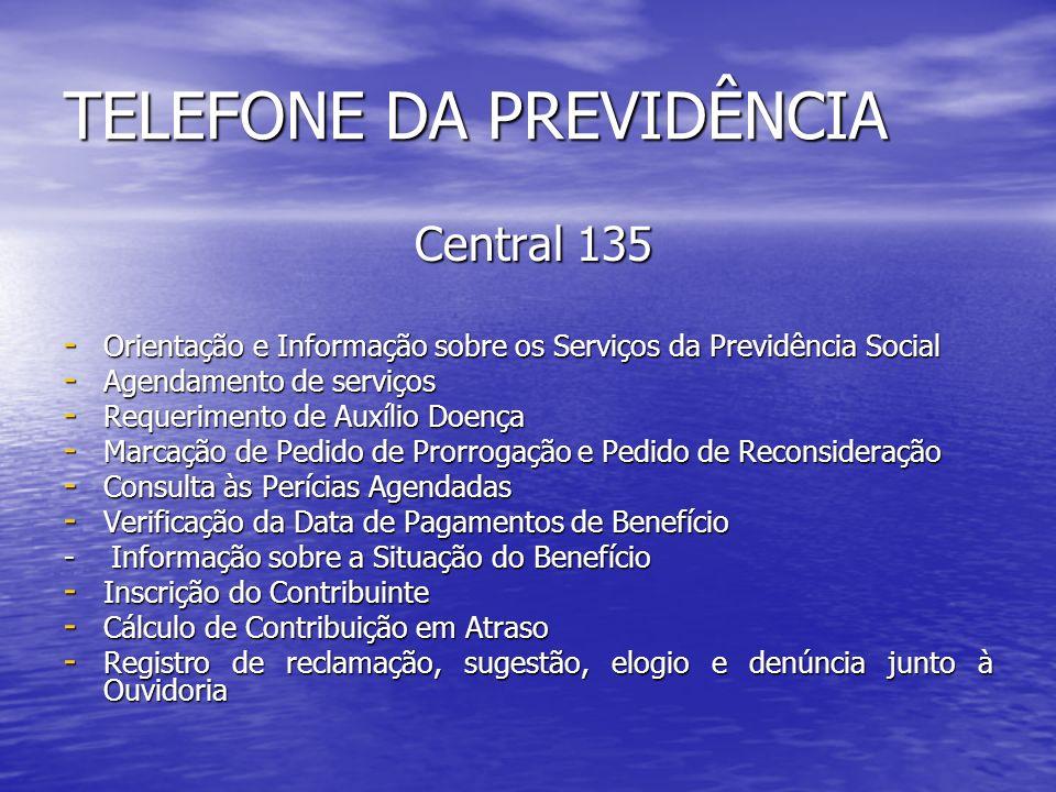 TELEFONE DA PREVIDÊNCIA