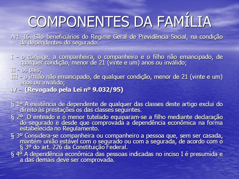 COMPONENTES DA FAMÍLIA
