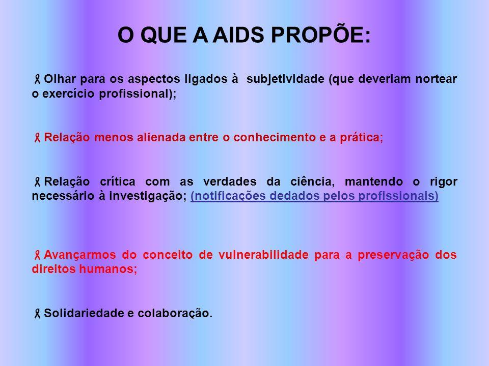O QUE A AIDS PROPÕE:Olhar para os aspectos ligados à subjetividade (que deveriam nortear o exercício profissional);
