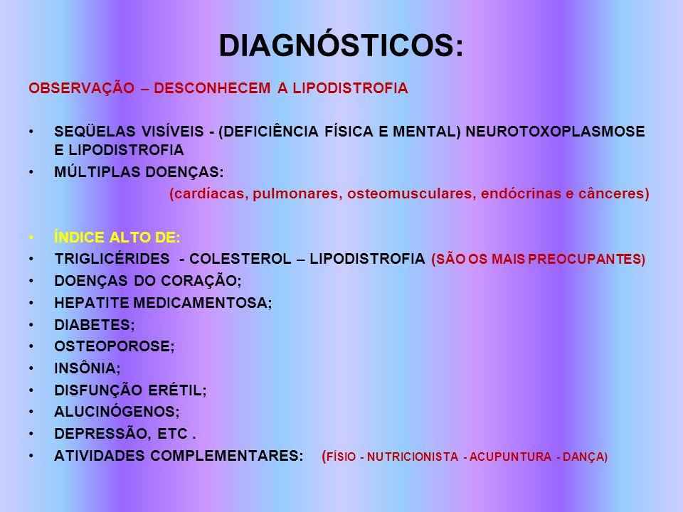 diagnósticos: OBSERVAÇÃO – DESCONHECEM A LIPODISTROFIA