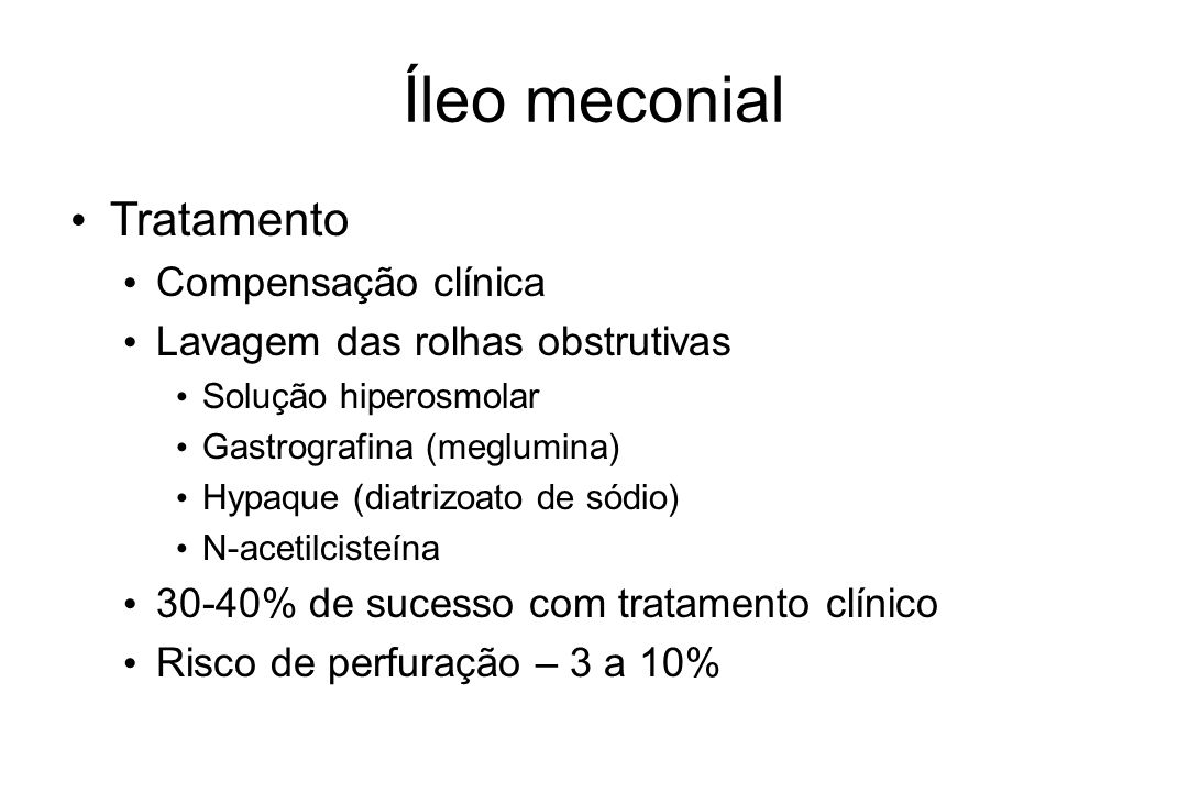Íleo meconial Tratamento Compensação clínica