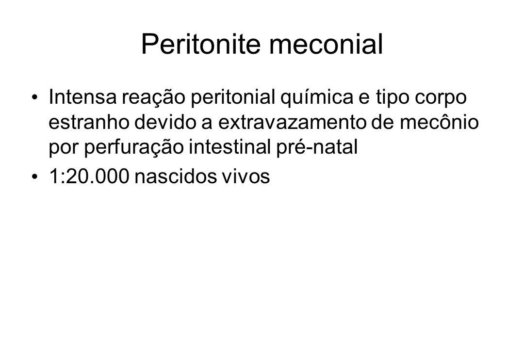 Peritonite meconial Intensa reação peritonial química e tipo corpo estranho devido a extravazamento de mecônio por perfuração intestinal pré-natal.