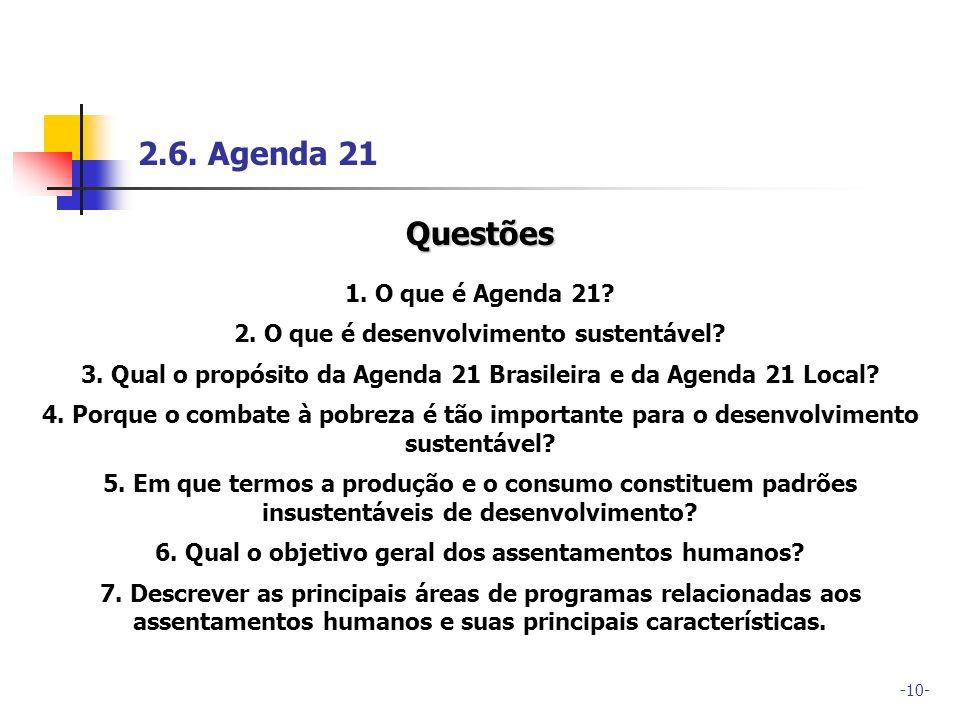 2.6. Agenda 21 Questões 1. O que é Agenda 21