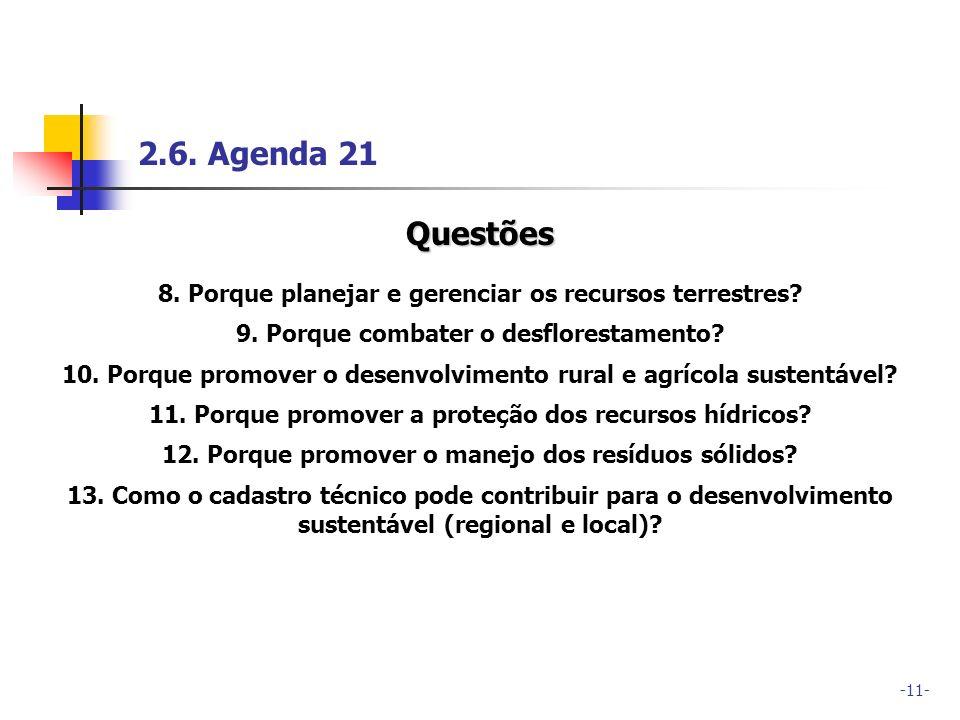 2.6. Agenda 21 Questões. 8. Porque planejar e gerenciar os recursos terrestres 9. Porque combater o desflorestamento