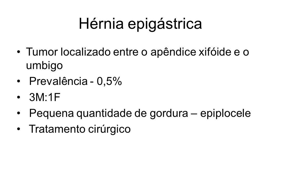 Hérnia epigástrica Tumor localizado entre o apêndice xifóide e o umbigo. Prevalência - 0,5% 3M:1F.