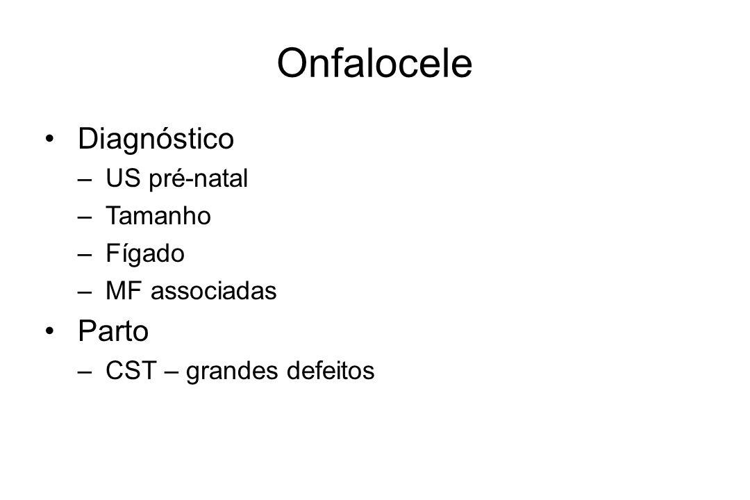Onfalocele Diagnóstico Parto US pré-natal Tamanho Fígado MF associadas