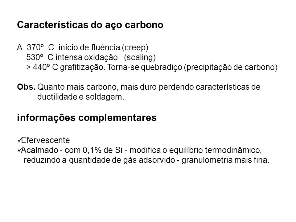 Características do aço carbono